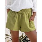 Оригинал              Женские повседневные шорты из сплошного цвета с эластичным поясом