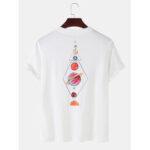 Оригинал              Красочная мультяшная планета с круглым принтом Шея Хлопковые футболки с коротким рукавом