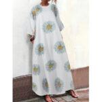 Оригинал              Женские маленькие маргаритки с принтом три четверти рукавом Свободные макси Платье с карманами