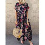 Оригинал              Этнический стиль с цветочным принтом Винтаж Свободный макси с короткими рукавами Платье с карманами