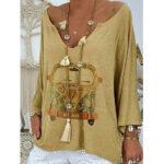 Оригинал              Повседневная свободная блузка с длинным рукавом и V-образным вырезом