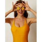 Оригинал              Женщины с открытой спиной Criss-Cross Yellow One шт. Похудение Купальный костюм