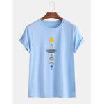 Оригинал              Mens Planet Print Round Шея Повседневные футболки с коротким рукавом