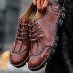 Оригинал              Мужская микрофибра из кожи, сшитая вручную, без скольжения Soft Повседневная обувь