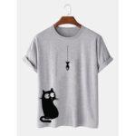 Оригинал              100% хлопок, мультяшный Кот с принтом, круглые свободные футболки с короткими рукавами Шея