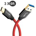 Оригинал              BlitzWolf® AmpCore 3ШТ Turbo BW-TC10 3A Плетеный USB 3.0 до тип-с зарядный кабель для передачи данных 6 футов / 1,8 м