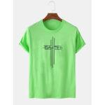 Оригинал              Крест и текст с принтом с короткими рукавами круглые Шея Свободные футболки