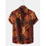Оригинал              Рубашки с короткими рукавами и воротником-банданой в этническом стиле