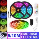 Оригинал              5M 10M Гибкая RGB LED Полоса света не водонепроницаемый SMD5050 Изменение цвета ленты Лампа с Дистанционное Управление DC12V