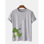 Оригинал              Мужская повседневная футболка с коротким рукавом из 100% хлопка с принтом динозавров