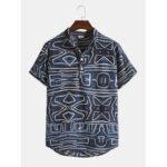Оригинал              Мужские Дизайн Абстрактные геометрические линии Винтаж Рубашки с короткими рукавами и воротником-стойкой