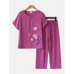 Оригинал              Женщины Plus Размер Цветы Печать Loungewear Набор Дышащий Мандарин Пуговицы Свободные Пижамы