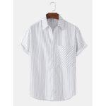 Оригинал              Мужские повседневные рубашки с длинным рукавом и вертикальными полосками
