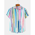 Оригинал              Рубашки мужские в полоску с принтом в полоску с короткими рукавами
