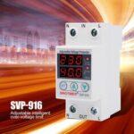 Оригинал              SINOTIMER SVP-916 230 В 40A / 63A Регулируемое самовосстановление Устройство защиты реле пониженного / повышенного напряжения Защитное устройство с LED