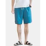 Оригинал              Сплошной цвет мужские хлопчатобумажные карманные свободные шорты