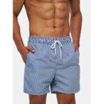 Оригинал              Мужские легкие синие полосатые быстросохнущие шорты на шнуровке с короткими рукавами Пляжный