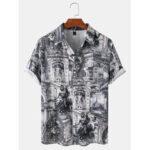 Оригинал              Мужские рубашки с коротким рукавом в этническом стиле с надписью Винтаж