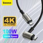 Оригинал              Baseus 100 Вт 5A Питание от USB-C к USB-C Питание PD3.0 QC4.0 Быстрая зарядка Коаксиальный кабель USB 3.1 gen2 10 Гбит / с Кабель синхронизации данных 4K HD Дисплей В