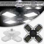 Оригинал              E27 80W LED Гаражные светильники деформируемые Гаражные потолочные светильники LED Лампа 4 деформируемые панели