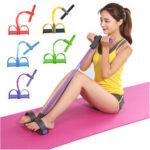 Оригинал              4-трубка Фитнес Упругая тяга приседания Веревка с педалью Тренировка брюшной полости Yoga Сопротивление Стандарты