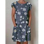 Оригинал              Повседневное платье с цветочным принтом с короткими рукавами Длина Pocket