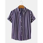 Оригинал              Рубашки с короткими рукавами и воротником-отворотом в вертикальную полоску