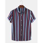 Оригинал              Мужские рубашки с короткими рукавами и воротником с вертикальными полосками Hawaii Пляжный Shirts
