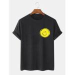 Оригинал              Мужская 100% хлопок Smile Face Печатный Круглый Шея Повседневные футболки с коротким рукавом