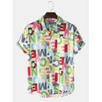 Оригинал              Дизайн Colorful Письмо с принтом на пуговицах с коротким рукавом мужские рубашки