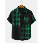 Оригинал              Хлопковые рубашки с короткими рукавами и карманом в клетку