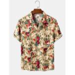 Оригинал              Рубашки из хлопка с несколькими цветочными принтами на Гавайях с короткими рукавами