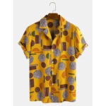 Оригинал              Рубашки мужские с геометрическим принтом и короткими рукавами