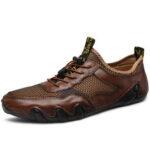 Оригинал              Мужчины сращивание коровьей кожи сетки нескользящей эластичной кружевной повседневной обуви для вождения