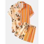 Оригинал              Banggood Дизайн Мужские повседневные комплекты с завязками в полоску с цветочным принтом