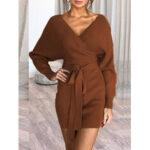 Оригинал              Женщины сплошной цвет V-образным вырезом с длинными рукавами спинки мини Платье