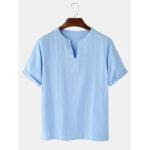 Оригинал              Хлопковые мужские повседневные однотонные футболки с v-образным вырезом с коротким рукавом