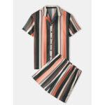 Оригинал              Banggood Designed Мужские Colorful полосатые дышащие рубашки эластичные талии повседневные шорты
