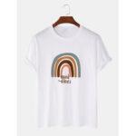 Оригинал              Круглая хлопковая футболка с короткими рукавами и принтом Rainbow & Letter Print Шея