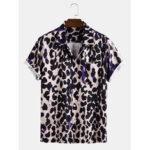 Оригинал              Мужские леопардовые повседневные рубашки с короткими рукавами и карманом Revere
