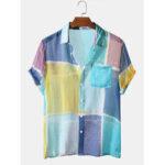 Оригинал              Color Block Light Дышащий нагрудный карман с коротким рукавом Soft Повседневные рубашки