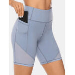 Оригинал              Плюс размер Женское Быстро сохнут сплошные спортивные шорты байкера с карманом