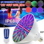 Оригинал              35 Вт E27 PAR56 RGB LED Лампа 12 В Подводное освещение Плавание Бассейн Light & Spa Light W / Дистанционный