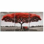 Оригинал              3 Шт. Настенные Декоративные Картины Красное Дерево Печать на Холсте Картины Безрамное Настенные Украшения для Домашнего Офиса