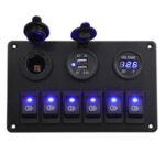 Оригинал              6 Gang Blue LED Панель клавишного переключателя Авто Marine Лодка Цепь Dual USB Водонепроницаемы