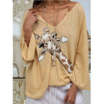 Оригинал              Женщины Жираф с принтом V-образным вырезом с длинным рукавом Повседневная свободная блузка