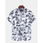 Оригинал              Mens Tropical Style Hawaii Пляжный Пейзаж Повседневные рубашки с коротким рукавом
