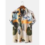 Оригинал              Мужские повседневные рубашки с дышащим рисунком с тропическим цветочным принтом Banggood