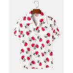 Оригинал              Хлопковые рубашки с короткими рукавами и воротником с лацканами с принтом в стиле Гавайев