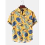 Оригинал              Mens Tropical Растение Лист Рубашки с коротким рукавом с принтом и легким принтом